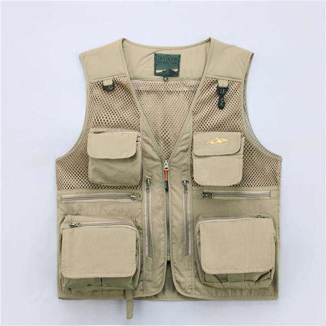 Icpans V-Neck Vest Khaki Red Army Green Blue Mens Vests Casual Military Male With Many Pockets Vests for Men XXXL 4XL