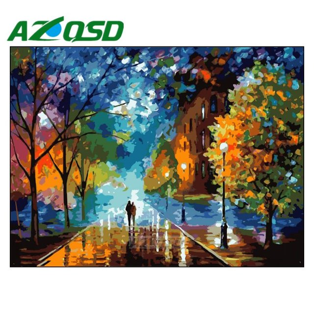 AZQSD Painting By Numbers Frameless 40x50cm Night Street Oil Painting Picture By numbers On Canvas Home Decor szyh070