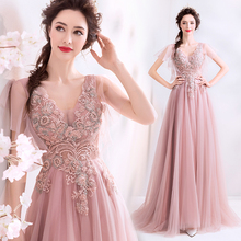 Its YiiYa V-neck Evening Dress Soybean Beading Flowers evening dresses Crystal Illusion Lace Up Short Sleeve Formal Gown E144