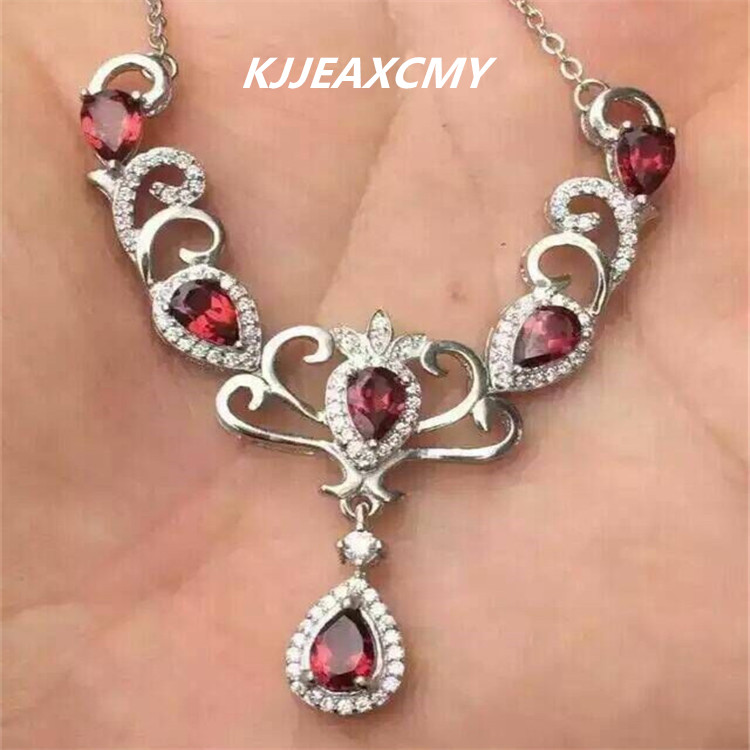 KJJEAXCMY boutique jewelry, Natural garnet inlaid jewelry wholesale silver female S925 clavicle Chain Necklace Pendant [silver] silver deer king s925 wholesale silver inlaid red corundum garnet pendant female peacock