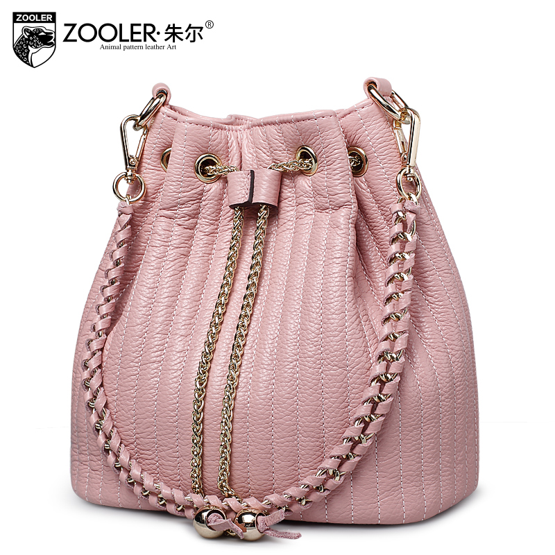 ZOOLER BUCKET bags handbags type women famous brands 2018 woman bag chains ladies Genuine leather Bags tote Bolsas   #2113 zooler fashion chains high quality genuine leather bags handbags women famous brand ladies cowhide messenger shoulder bag bolsas