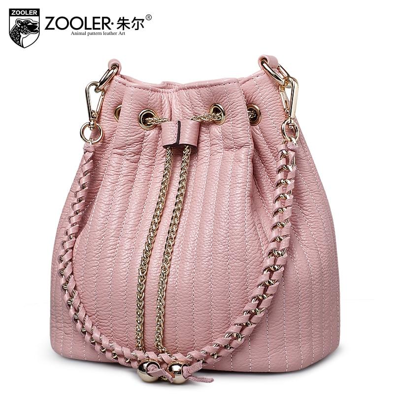 ZOOLER BUCKET γνήσια δερμάτινη τσάντα zooler γυναικεία τσάντα αλυσίδες κυρίες γυναίκα ώμο Τσάντες borse da donna / Bolsas # 2113