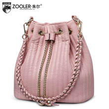ZOOLER BUCKET genuine leather bag zooler woman bag chains ladies woman shoulder Bags borse da donna /Bolsas #2113