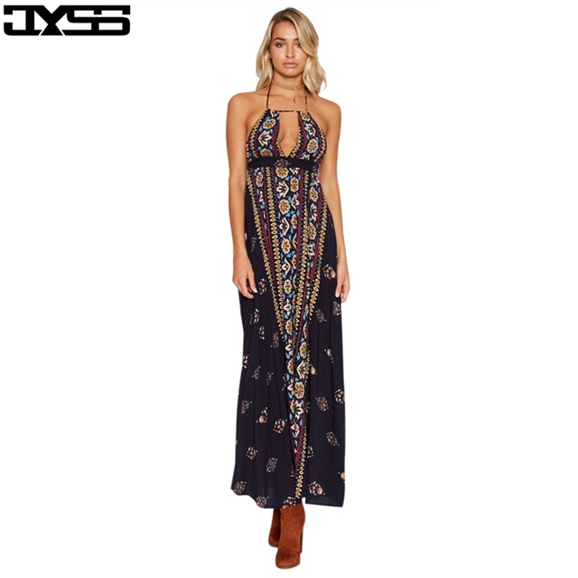 best website a511f 807ab US $18.95 |JYSS Bohemian nuovo vestito dalla spiaggia di estate della  ragazza elegante abiti lunghi appeso al collo halter backless stampato  allentate ...