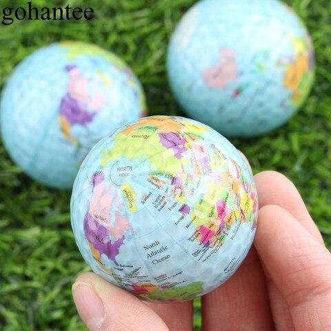Bolas de Golfe Bolas de Presente para Iniciante Gohantee Lote Globo Mapa Cor Surlyn Prática Treinamento 42.7mm Diâmetro Treinador 3 Pçs –