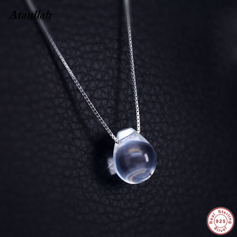 Ataullah Water Drop Natural White Crystal Necklaces Pendant 925 Sterling Silver Tear Eyedrop Women 925 Pendant Jewelry NWP109