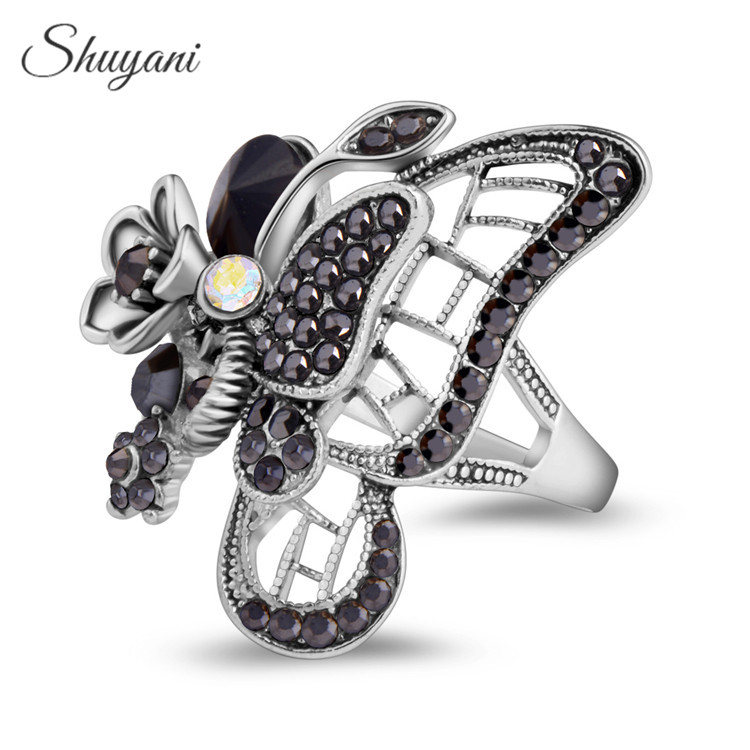 SHUYANI Jewelry Exaggerated Vintage Retro Butterfly Finger Ring Antique Crystal Rings for Women Party YNR1066-2