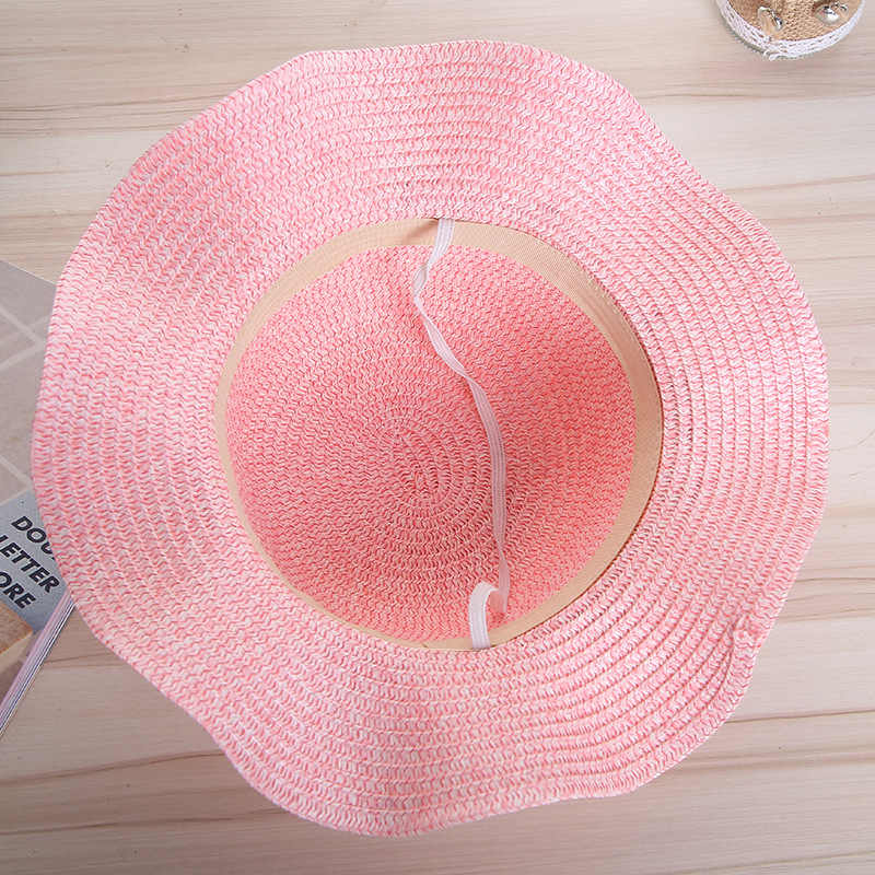إمرأة قبعة الشمس اليدوية القش اكليلا قبعة UPF 50 حماية المضادة للأشعة فوق البنفسجية للأزياء الصيف الظل كاب قبعة للشاطئ