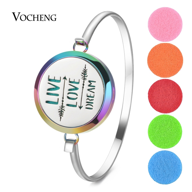 15 Styles Colorful Aromatherapy Diffuser Locket Magnetic Bangle 316L Stainless Steel Randomly Send 10pcs Oil Pads as Gift VA-953