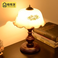 England After Classical Solid Wood Dimmer Table Lamp American Bedroom Study Reading Lamp