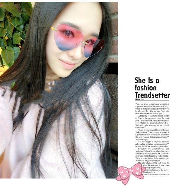 Y594 2014 Harajuku coração em forma de Moda de Nova Óculos de Sol Coreano sem aro óculos de Sol Feminino Anti-UV