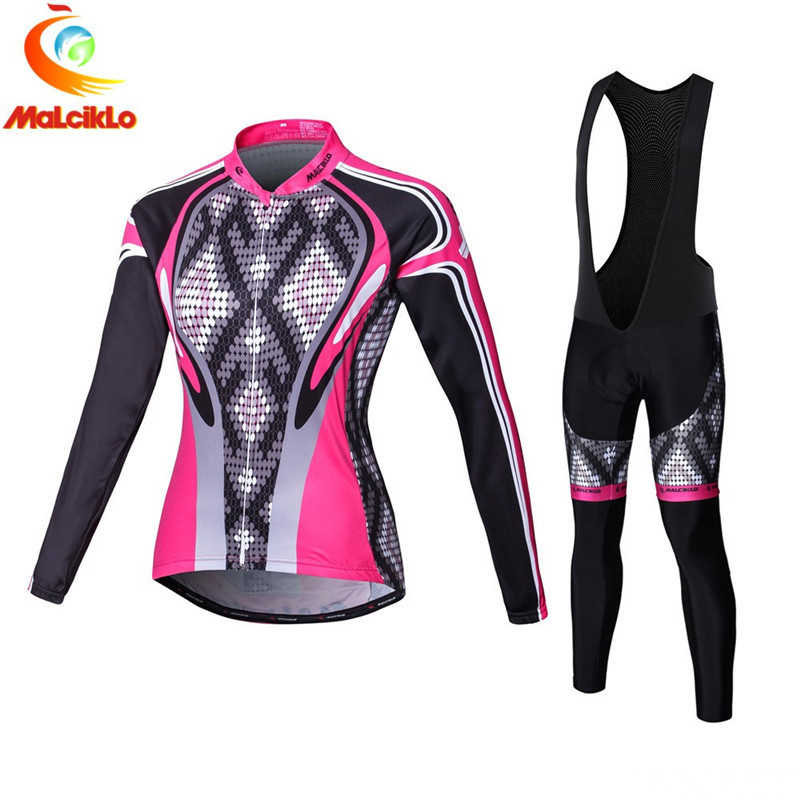 Malciklo High quality 2018 Women Cycling Jerseys Long Sleeve Cycling Clothing Autumn Bicycle Ropa Ciclismo Maillot Cycling Sets-in Cycling Sets from Sports & Entertainment    1