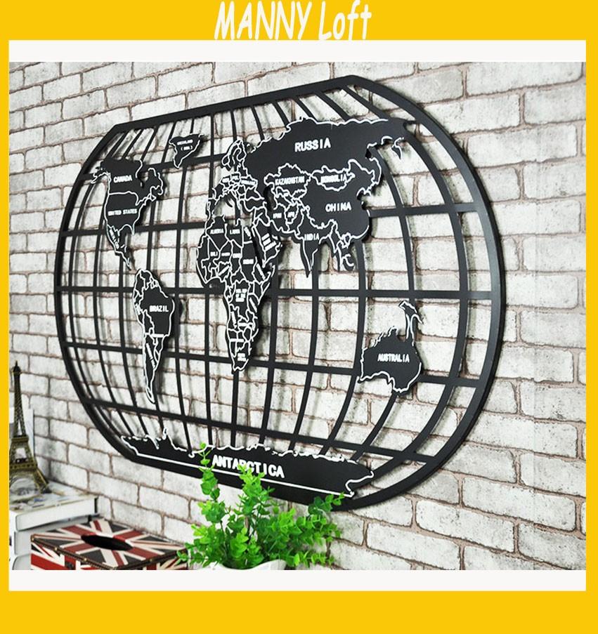 100 58 2 Cm Retro 3d Carte Du Monde Sticker Mural En Metal De Style