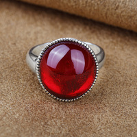 S925 genuine sterling silver ring fashion silver red corundum Black ring