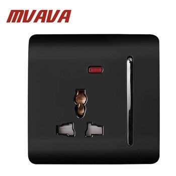 MVAVA Lüks Duvar Anahtarı Paneli 3 Pin İşlevli Soketi, fiş, soket 88*88mm, 13A, 110 ~ 250 V Siyah PC Elektrik Duvar Tak