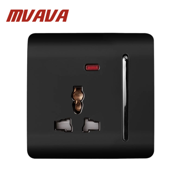 Mvava panel de lujo del interruptor de pared 3 Pasadores multifunción zócalo, enchufe, zócalo 88*88mm, 13a, 110 ~ 250 V negro PC enchufe de pared eléctrica