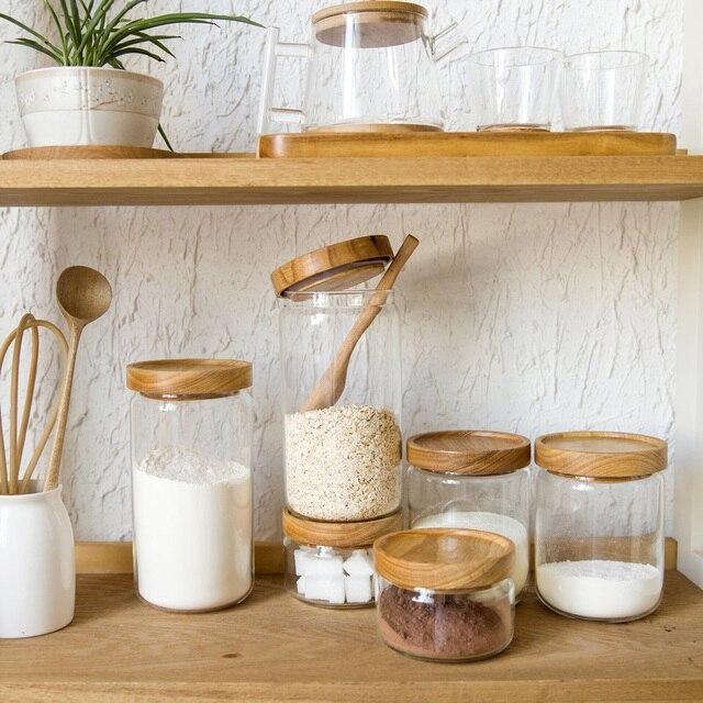 Japan Zakka Stil Glas Gewürzglas Küche Kanister Keksdosen Holzdeckel 3  Stücke Gewürze Aufbewahrungsbox Candy Jar Hohe