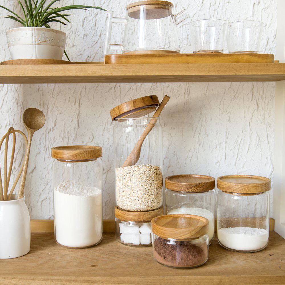 Charming Japan Zakka Style Glass Spice Jar Kitchen Canisters Cookie Jars Wooden Lid  3 Pieces Spices Storage Box Candy Jar High Quality Ideas