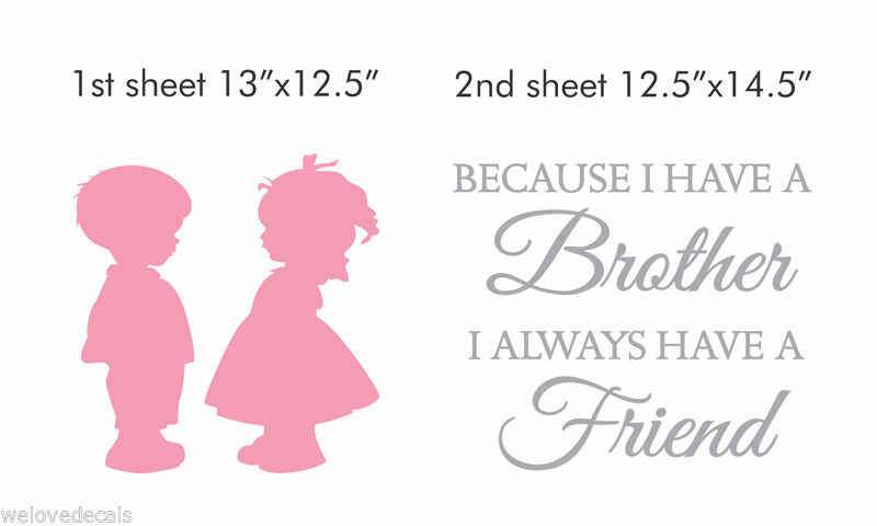 UP 2-Color Brother SISTER LOVE FRIENDS Vinyl Quotes Wall Decals Stickers  Art Home Decor Kid Nursery Room Mural KW-256