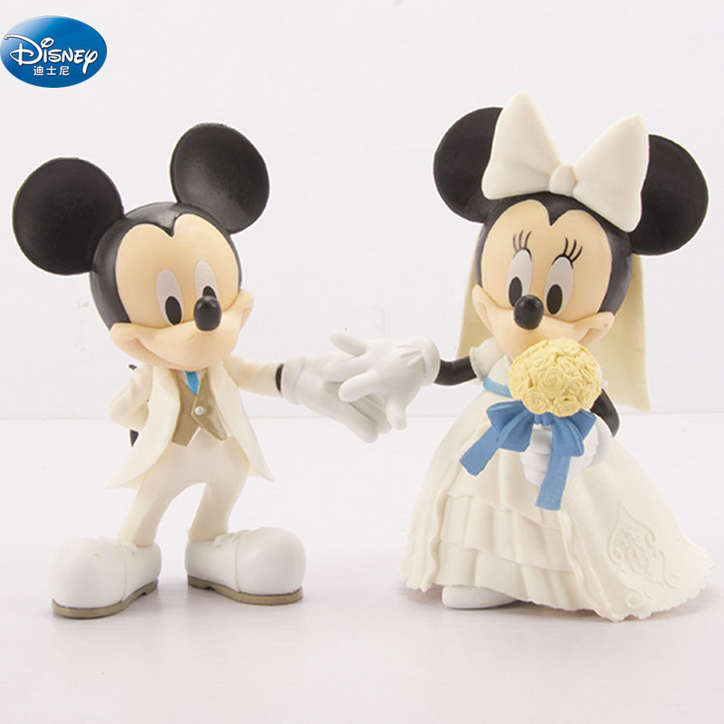 Cartoon White Wedding Mickey Minnie Mouse  Figures Toy Cake Decoration Action For Kids Gift