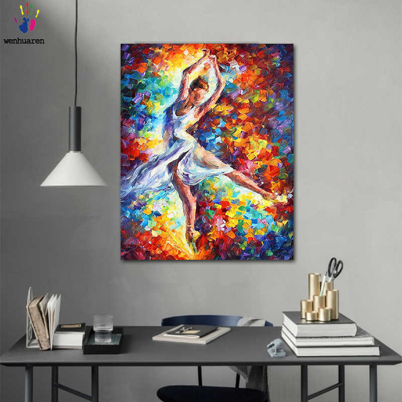 DIY colorings pictures by numbers with colors Abstract dance painting picture drawing painting by numbers framed Home