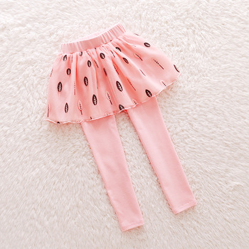 Children'Girls Leggings Autumn and Spring Kids Bottoming Skirt Pants Fake Two Leggings 2018 Baby Printing Skinny Pants Solid Hot