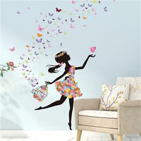 Flower Fairy Dance Girl Wall Sticker Living Room Wall Decoration