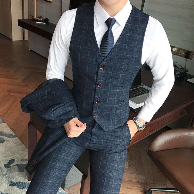 d0a00a45 US $14.95 35% OFF|Luxury men's check vest suit trousers 2019 men's formal  wear wedding dress large size casual business men's suit vest trousers-in  ...