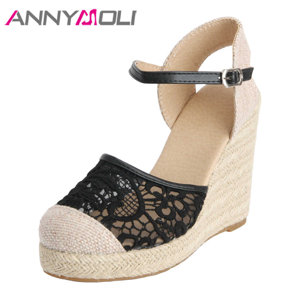 ANNYMOLI sandalias de cuña zapatos de mujer 2019 alpargatas tacones altos Bohemia encaje zapatos de boda sandalias de mujer de talla grande 34-43