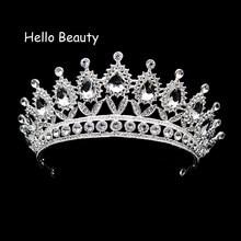 6ede9a9009d68 الفضة كبيرة كبيرة خمر واضح كريستال الأميرة ملكة الإكليل rhinestone العروس  التيجان و التيجان لحضور حفل زفاف العروسة