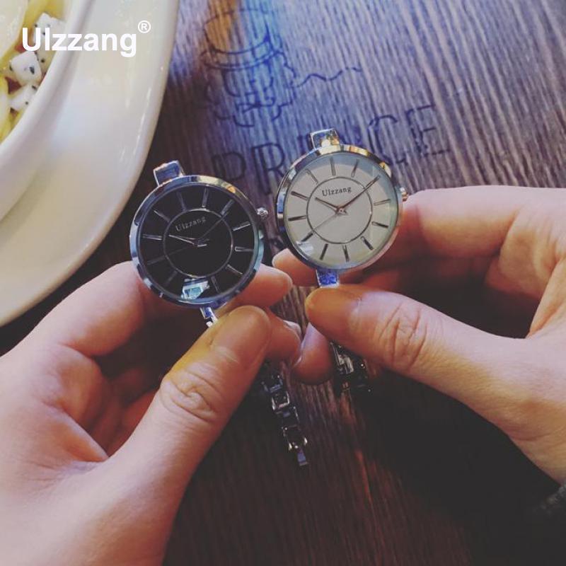 Original Ulzzang Brand Silver Ultra Thin Stainless Steel Quartz Wristwatches Women Ladies Girls Wrist Watch Bracelet longbo ultra thin stainless steel quartz wrist watch for men silver