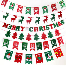 Christmas Gifts and Decorations Banners 2M Felt Cloth Elk Pull Flag Bunting Reindeer Tree Decoration