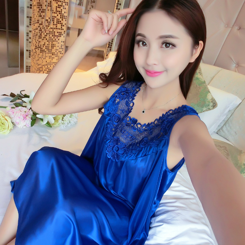 Yidanna 2018 Women   Nightgowns   Silk   Sleepshirts   Sleeveless Sleepwear Summer Lace Nighties Lingerie Homedress Sexy Sleep Clothing