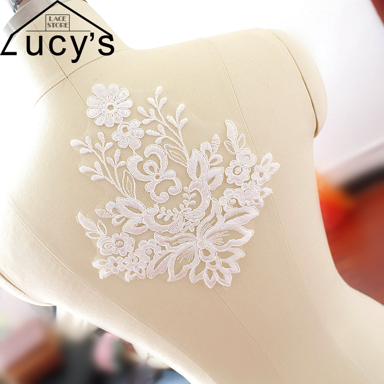 21x19CM special lace patches for wedding veil diy light ivory color corded lace flowers 10 pieces