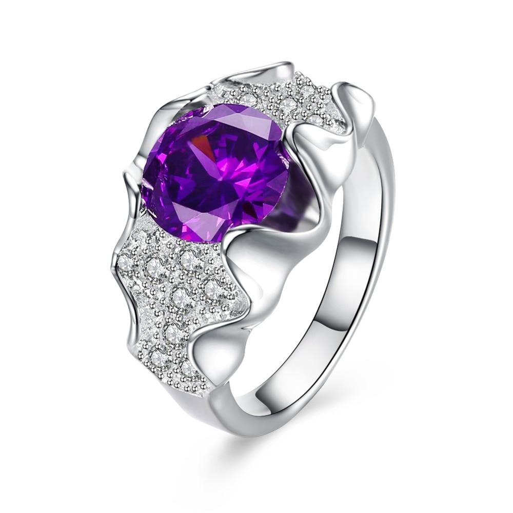 Newly popular high silver jewelry wave edge irregular geometric purple purple zircon ring noble and charming lady