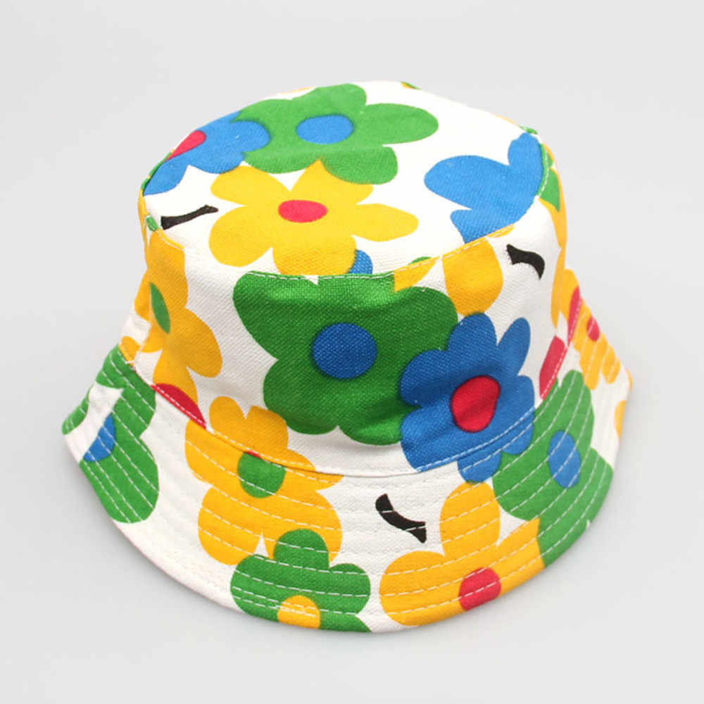 Toddler Baby Kids Boys Girls Floral Pattern Bucket Hats Sun Helmet Cap Baby Soft Cotton Summer Infant Newborn Bucket Sun Hat