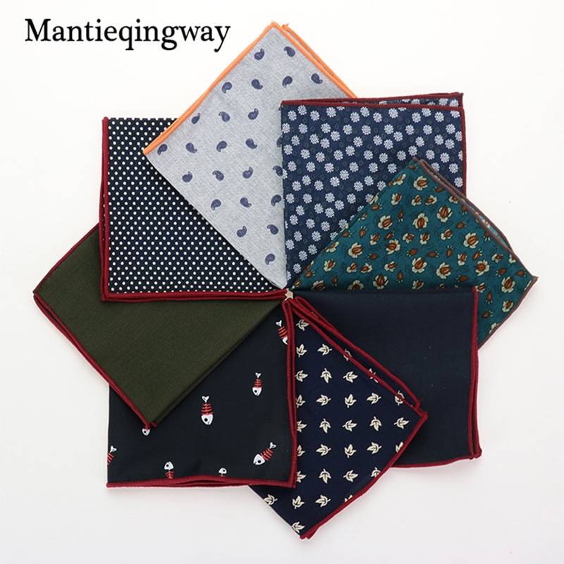 Fashion Printed Pocket Towel Men's Suits Cotton Floral Pocket Square Wedding Handkerchief Casual Solid Color Hanky