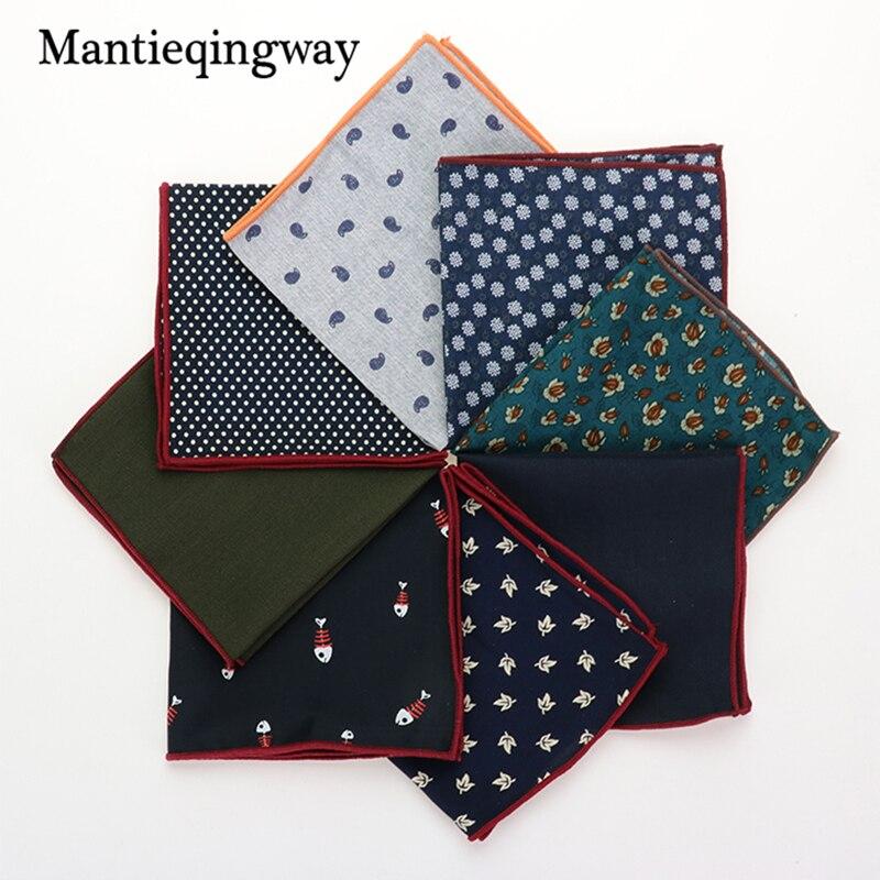 Mantieqingway Fashion Printed Pocket Towel Men's Suits Cotton Floral Pocket Square Wedding Handkerchief Casual Solid Color Hanky
