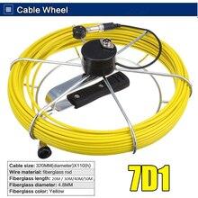 7D1 канализационная дренажная труба видео инспекционная камера 20 м Стекловолоконный нажимной кабель катушка колесо из нержавеющей стали подходит для камеры 7D1 23 мм Размер