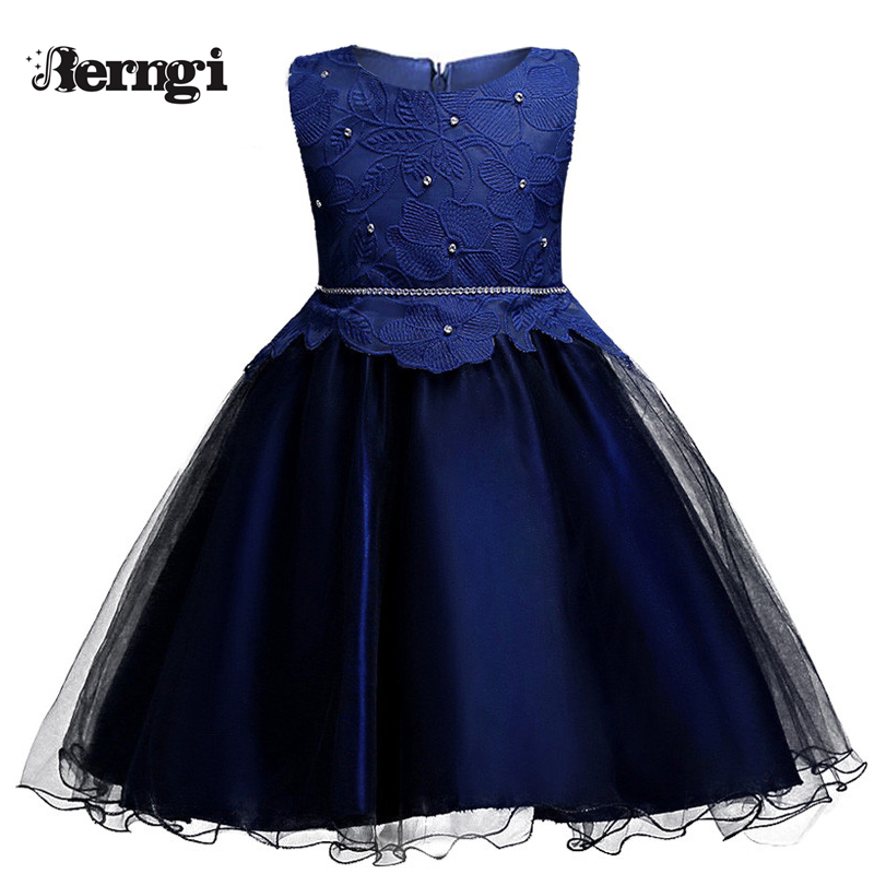Brand New Flower Lace Girl Dress Blue Color Tutu Party  Dress for Little Girls Prom Wedding Birthday Dresses for 4-10 yrs