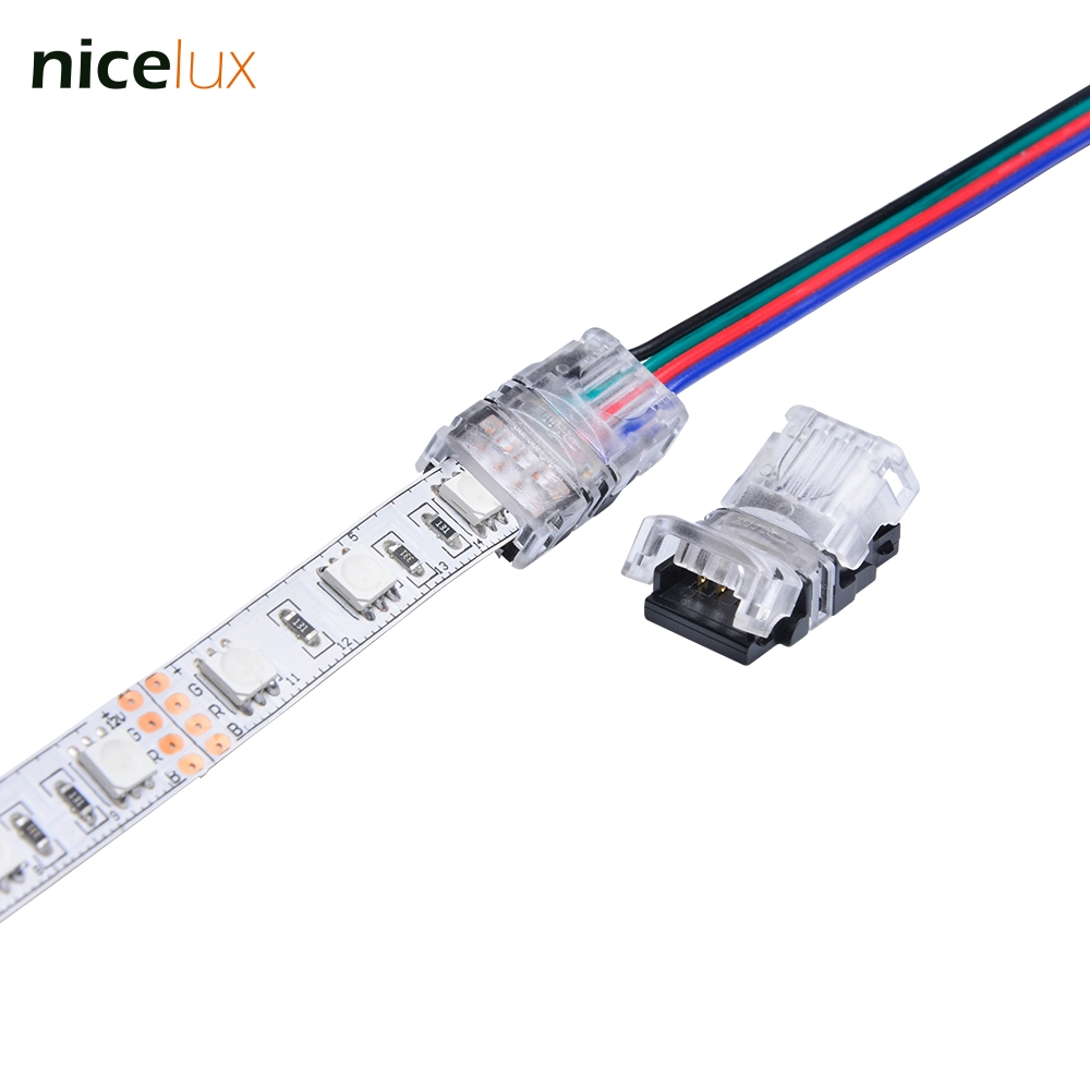 10PCS LED Strip Connector 4 pin Non- Waterproof 10mm Tape Light Connector for 10mm 5050 IP20 LED RGB Strip Light to Wire Cable 10pcs 5 pin led strip wire connector for 12mm 5050 rgbw rgby ip20 non waterproof led strip to wire connection terminals