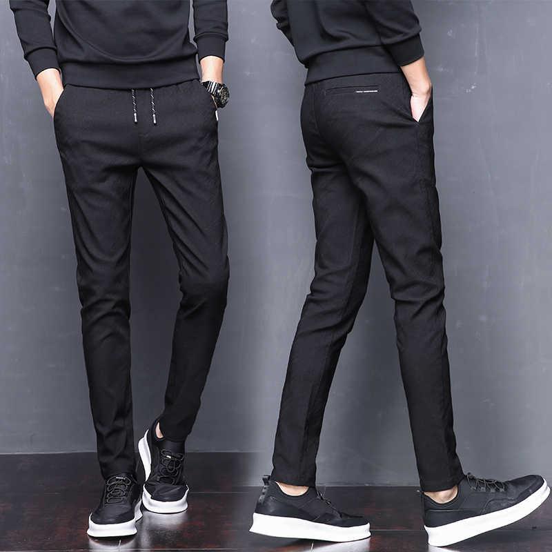 02bd74b6388f ... Summer Pants Mens Skinny Stretch Korean Casual Slacks Slim Fit Chino  Elastic Waist Jogger Dress Trousers ...