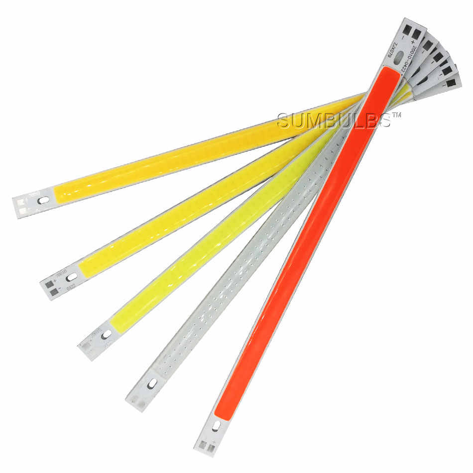 Ultra Bright 12V COB LED Strip Light Source 10W Green Blue Red Yellow White for DIY Car Lamp Indoor Outdoor Lighting 200*10MM