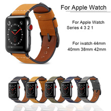 все цены на Genuine Leather Replacement Band For Apple Watch 4 3 2 1 Bracelet Strap For iwatch 44mm 42mm 38mm 40mm loop Wrist Watchband Men онлайн