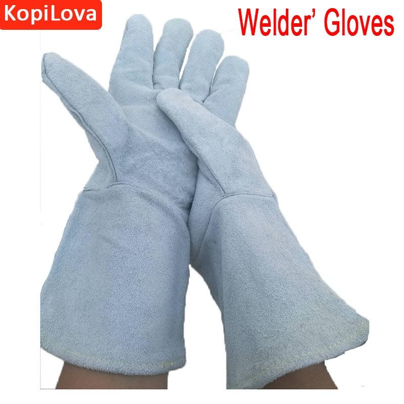 KopiLova 1pairs 35CM Weldeing Gloves Welder Gauntlets Wear-resisting Workplace Safety Gloves Sputtering Protection Gloves welder machine plasma cutter welder mask for welder machine