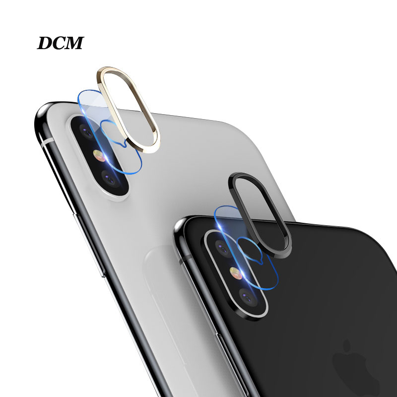 DCM Transparent Tempered Glass+Metal Rear Lens Protective Ring For iPhone X 8 7 Plus Camera Lens Screen Protector For iPhone X 7