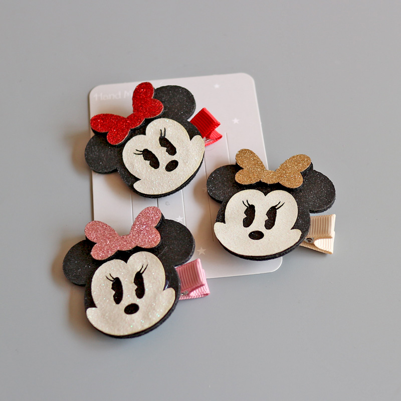 1 PCS New Fashion Cute Mickey Bow Student Hairpins Girls Hair Accessories Children   Headwear   Baby Hair Clips Headdress