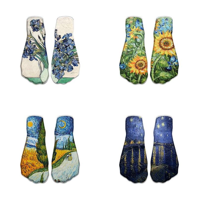 New Fashion Cute Sunflower 3D Print   Socks   Women Ankle   Socks   Plant Classic Oil Painting   Sock   Art   Socks   For Female 7ZJQ-ZWS52