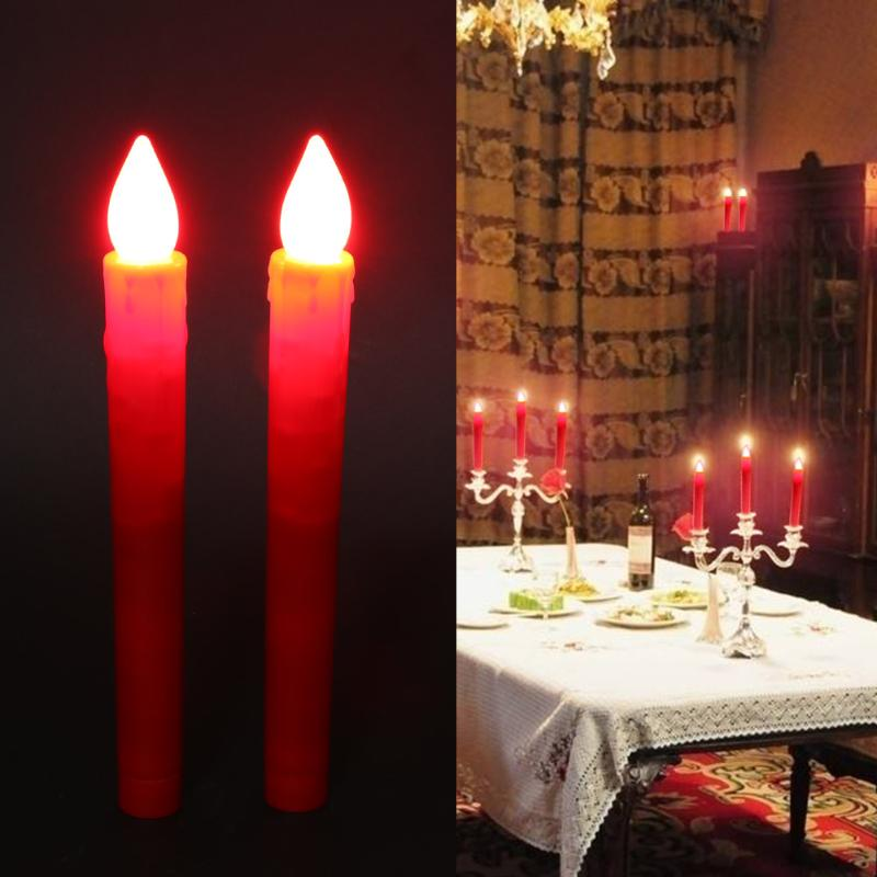 2pcs Flameless LED Candle Set Party Birthday Wedding Flicker Candles Light Small Battery Operated LED Candle Lights for Dinner