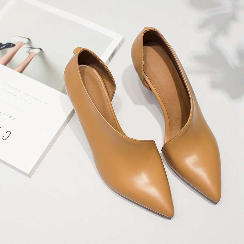 2017 New Fashion Brand Shoes Thin High Heel Pointed Women Pumps Solid Colors Genuine Leather